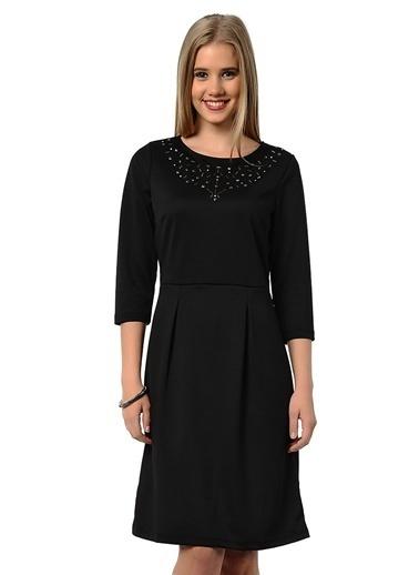Asymmetry Taşlı Kısa Elbise Siyah